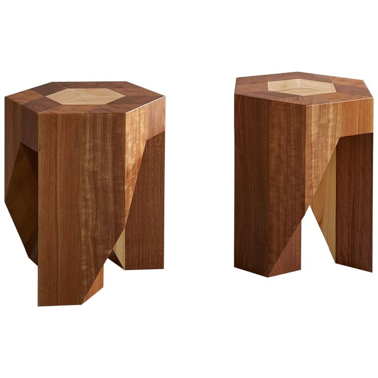 Award winning Yosegi Modern Minimal Style Japanese Pair Stools by Tamen For Sale