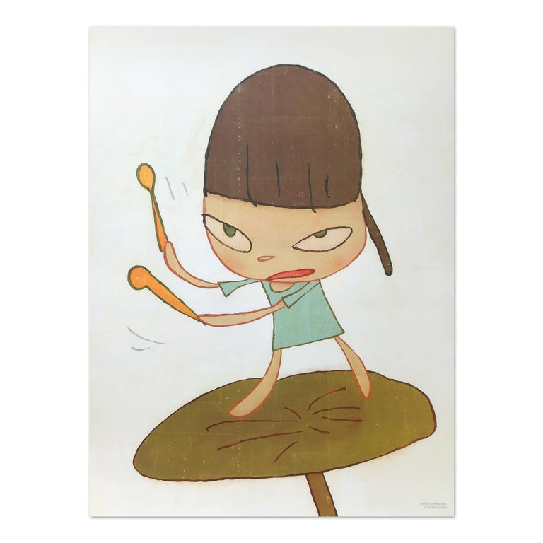 Yoshitomo Nara Figurative Print - Marching on a Butterbur Leaf, Contemporary Art, Pop Art