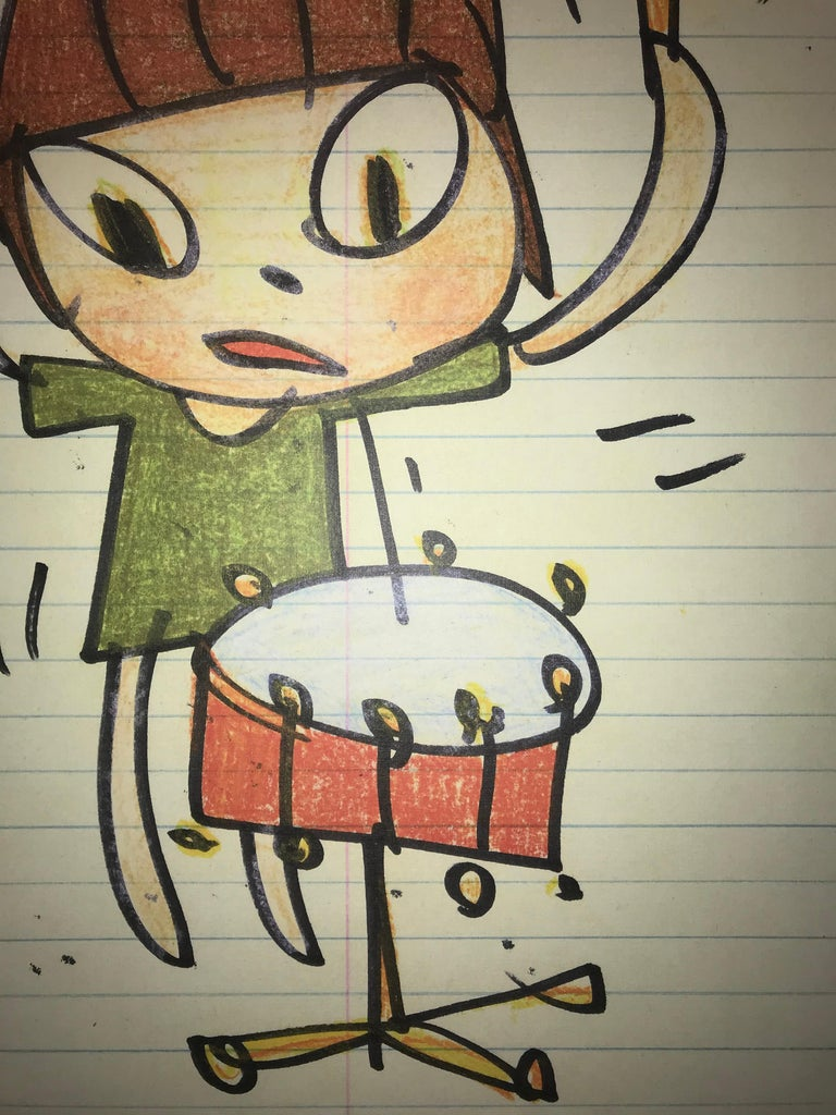 Nara Girl Banging On A Drum With Limited Edition Sticker Set Pop Art Print  For Sale 1