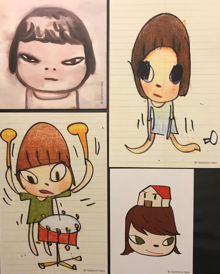 Nara Girl Banging On A Drum With Limited Edition Sticker Set Pop Art Print  For Sale 3