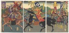 Yoshitora, Original Japanese Woodblock Print, Samurai, Warrior, Ukiyo-e, Horse