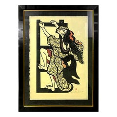 Yoshitoshi Mori Large Signed Limited Edition Rare Japanese Stencil Print