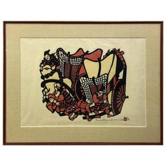 Yoshitoshi Mori Signed Large Limited Edition Japanese Stencil Print, 1972
