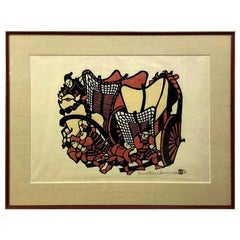 Yoshitoshi Mori Signed Large Limited Edition Japanese Stencil Print, 1972