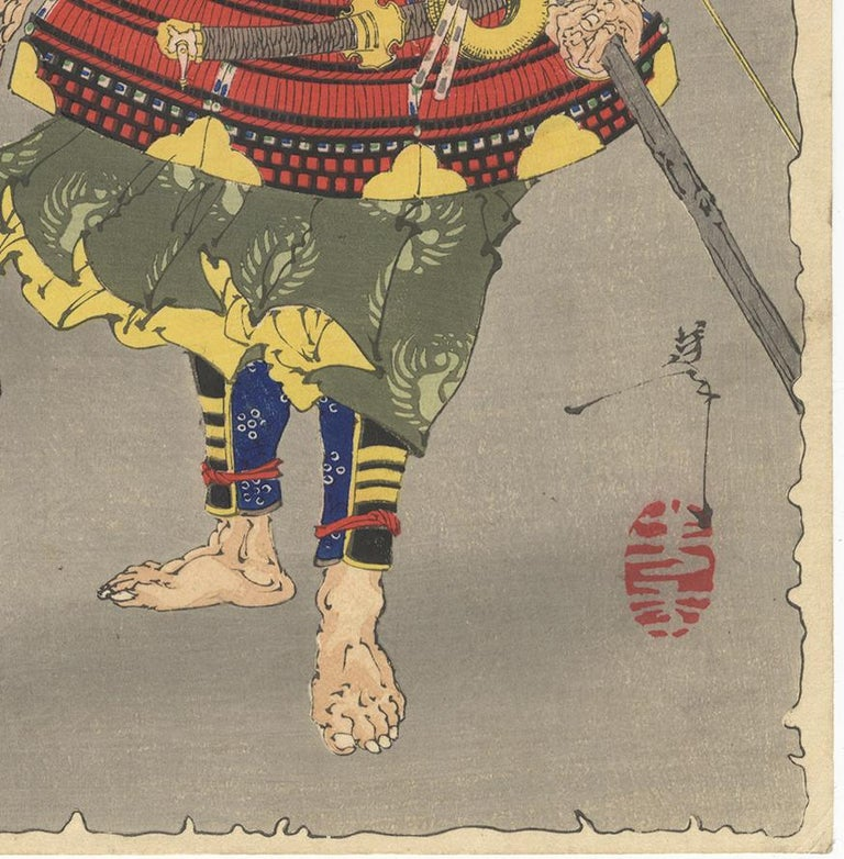 Hand-Crafted Yoshitoshi, Thirty-Six Ghosts, Demons, Warrior Tametomo, Supernatural, Meiji For Sale