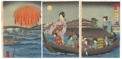 Nobukazu, Kimono Design, Fireworks, Ryogoku, Japanese Woodblock Print, Ukiyo-e