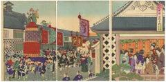 Chikanobu, Original Japanese Woodblock Print, Ukiyo-e, Meiji, Elephant, Tokyo
