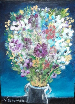 "Yosl Bergner, Oil on canvas ""Flowers"" C1990 with artist COA"
