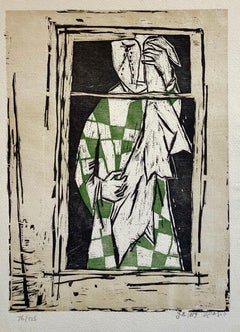 1959 Israeli Yosl Bergner Modernist Color Woodcut Woodblock Print