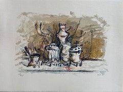 Israeli Expressionist Yosl Bergner Modernist Lithograph Kibbutz Coffee Grinder