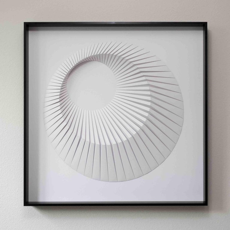 Eclipse A White - geometric abstract wall sculpture - Painting by Yossi Ben Abu