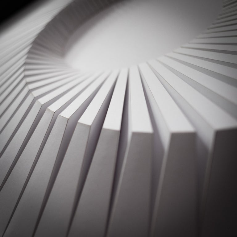 Eclipse A White - geometric abstract wall sculpture For Sale 2