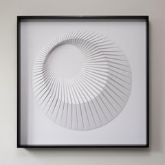 Eclipse A White - geometric abstract wall sculpture
