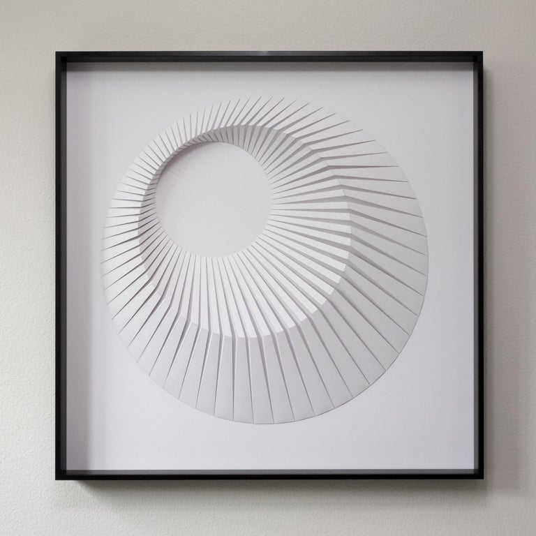 Yossi Ben Abu Abstract Painting - Eclipse A White - geometric abstract wall sculpture