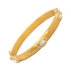 Yossi Harari 24 Karat Yellow Gold Diamond Bangle Bracelet
