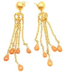 Yossi Harari Citrine Gemstone Yellow Gold Drop Earrings