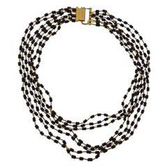 Yossi Harari Gold Jet Bead Multi Strand Necklace
