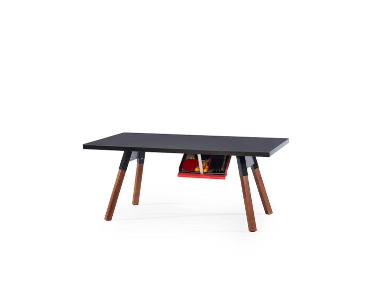 It's a ping-pong table. Small sized for enthusiasts with less space, with a surface, a design, and a structure that gives it full playability. But, it's also a large desk, craft table or whatever you want. All the sportiness that it gets from the