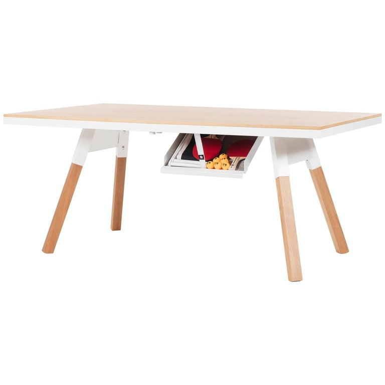 You & Me Wooden Top 180 Ping Pong Table in Oak and White by RS Barcelona