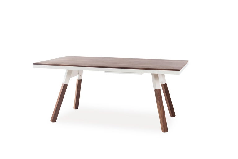 Modern You & Me Wooden Top 180 Ping Pong Table in Walnut and White by RS Barcelona For Sale