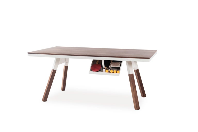Spanish You & Me Wooden Top 180 Ping Pong Table in Walnut and White by RS Barcelona For Sale