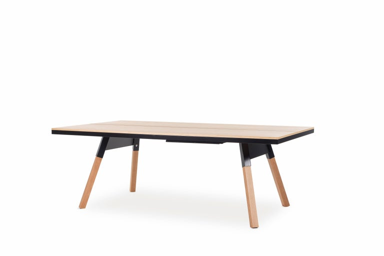 Modern You & Me Wooden Top 220 Ping Pong Table in Oak and Black by RS Barcelona For Sale