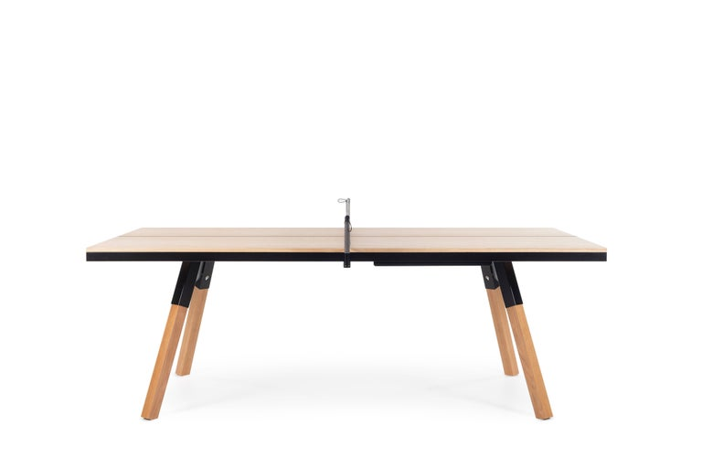 Spanish You & Me Wooden Top 220 Ping Pong Table in Oak and Black by RS Barcelona For Sale