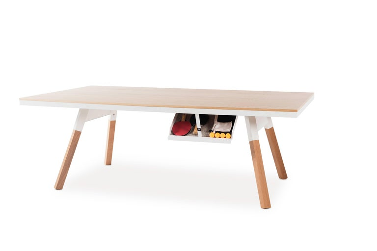 Modern You & Me Wooden Top 220 Ping Pong Table in Oak and White by RS Barcelona For Sale