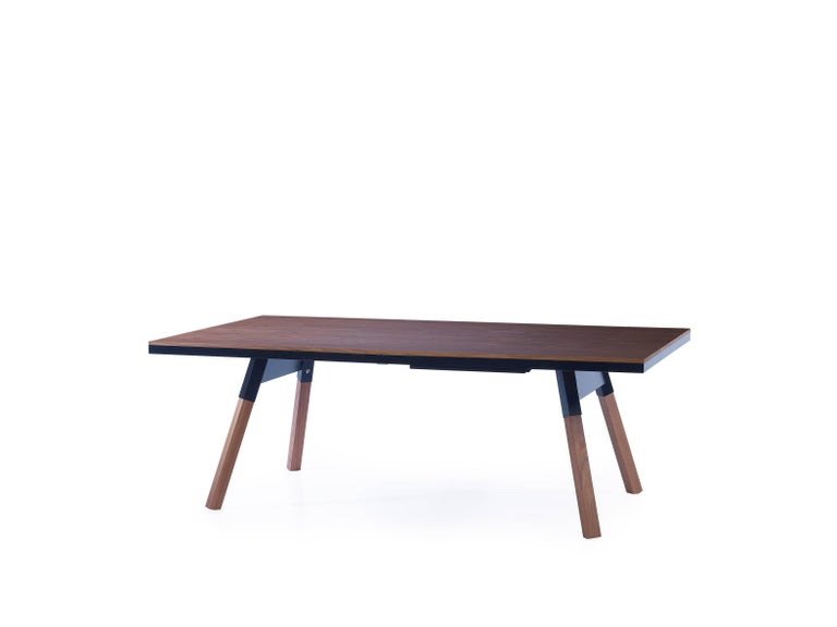 Modern You & Me Wooden Top 220 Ping Pong Table in Walnut and Black by RS Barcelona For Sale