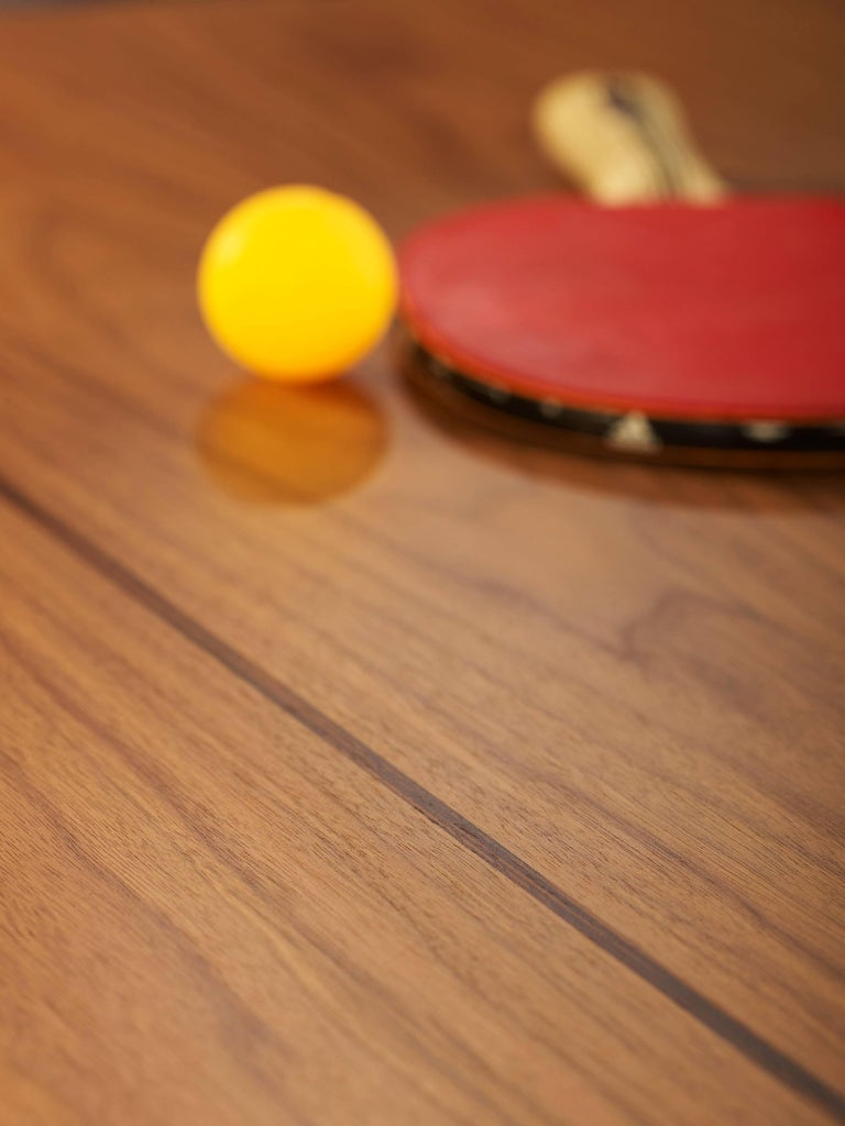 Contemporary You & Me Wooden Top 220 Ping Pong Table in Walnut and Black by RS Barcelona For Sale