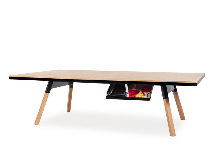 Spanish You & Me Wooden Top Standard Ping Pong Table in Oak and Black by RS Barcelona For Sale