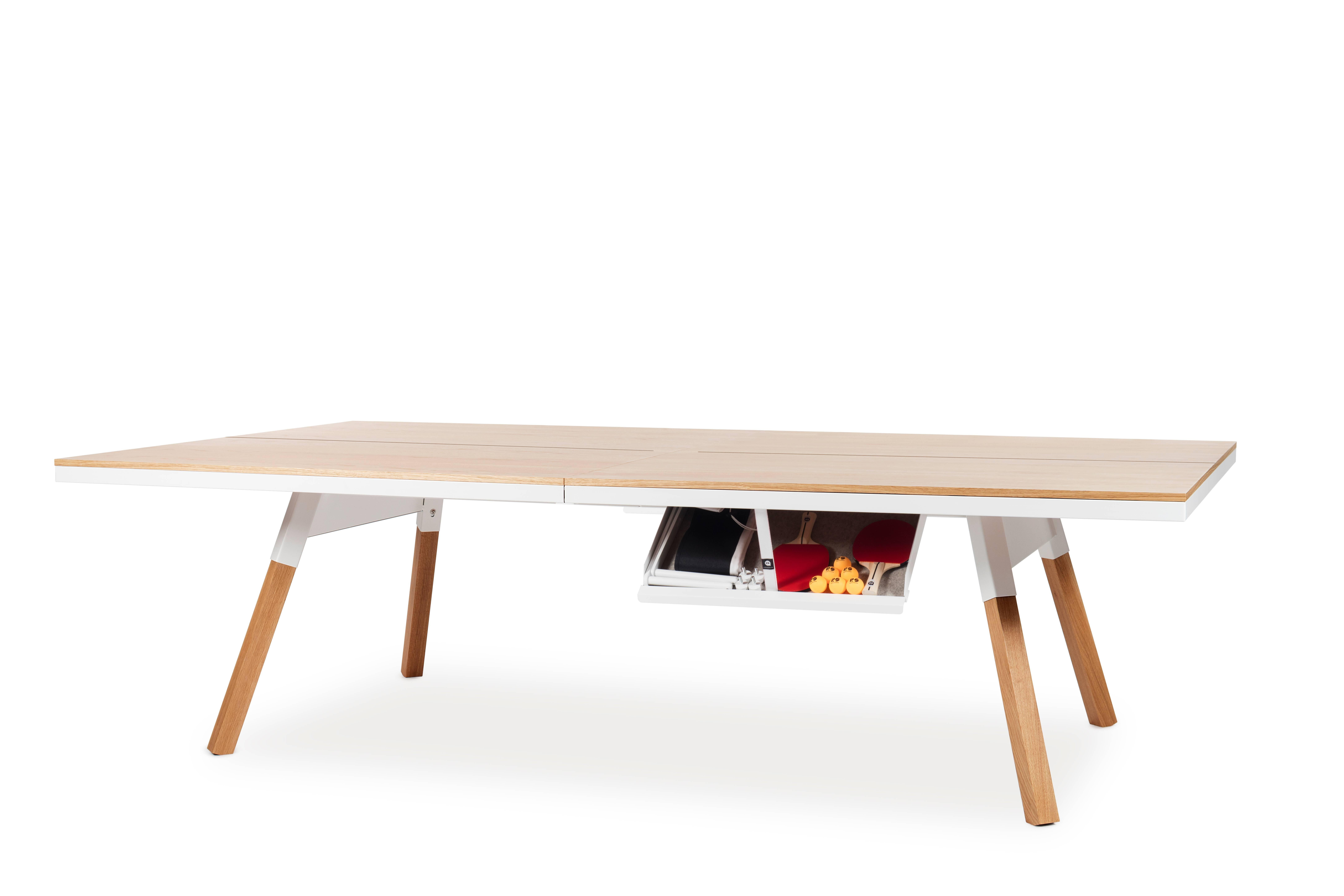 Modern You U0026 Me Wooden Top Standard Ping Pong Table In Oak And White By RS