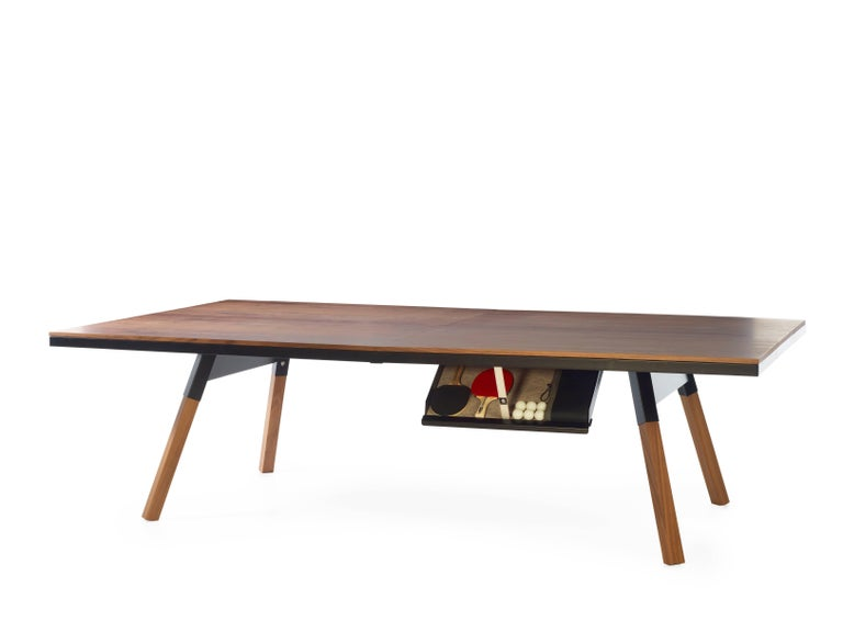 Modern You & Me Wooden Top Standard Ping Pong Table in Walnut and Black by RS Barcelona For Sale