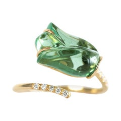 """You and Me 18k Gold Ring Set with Diamonds and an Engraved """"Tulip"""" Tourmaline"""
