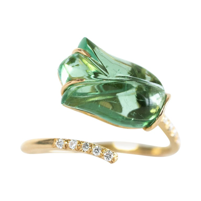 """You and Me 18k Gold Ring Set with Diamonds and an Engraved """"Tulip"""" Tourmaline For Sale"""