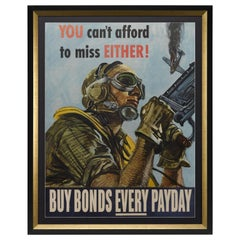 """You Can't Afford to Miss Either"" Vintage WWII Bonds Poster, 1944"