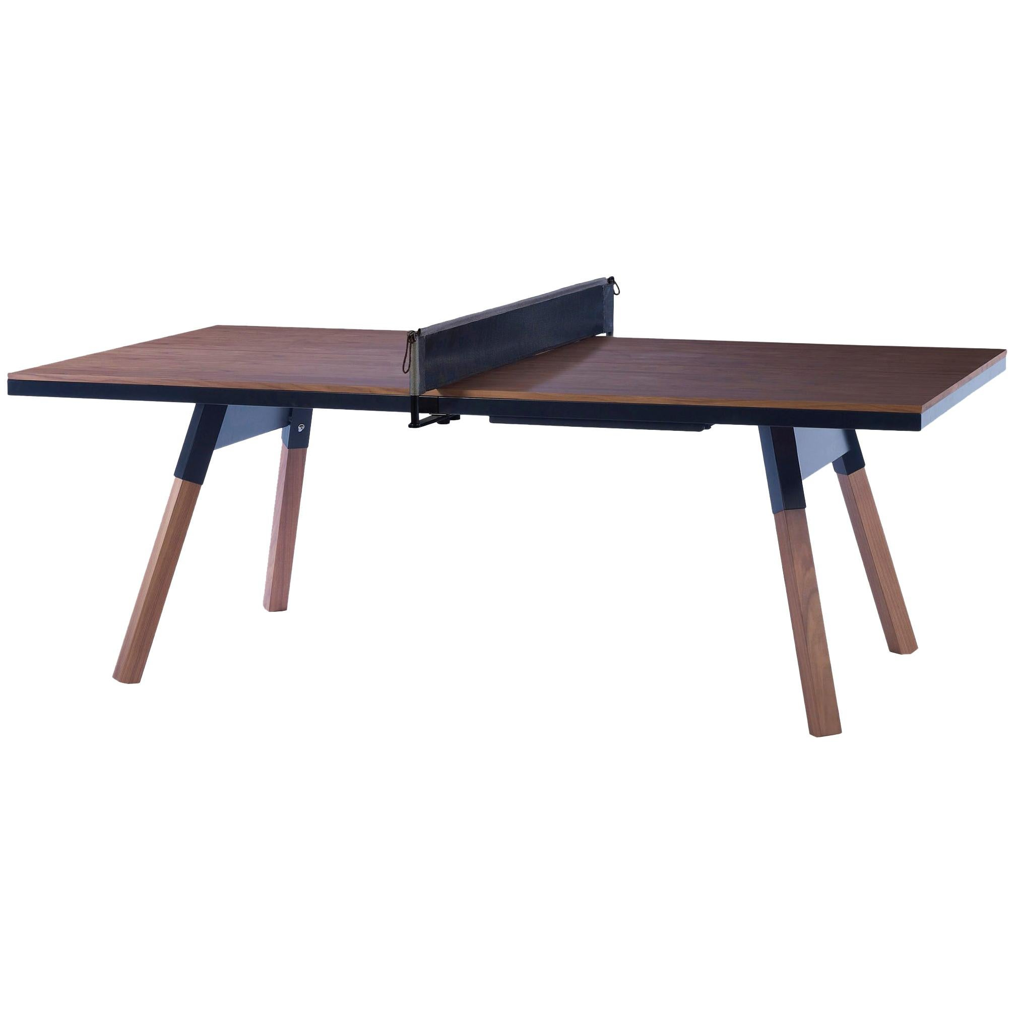 You & Me Wooden Top 220 Ping Pong Table in Walnut and Black by RS Barcelona