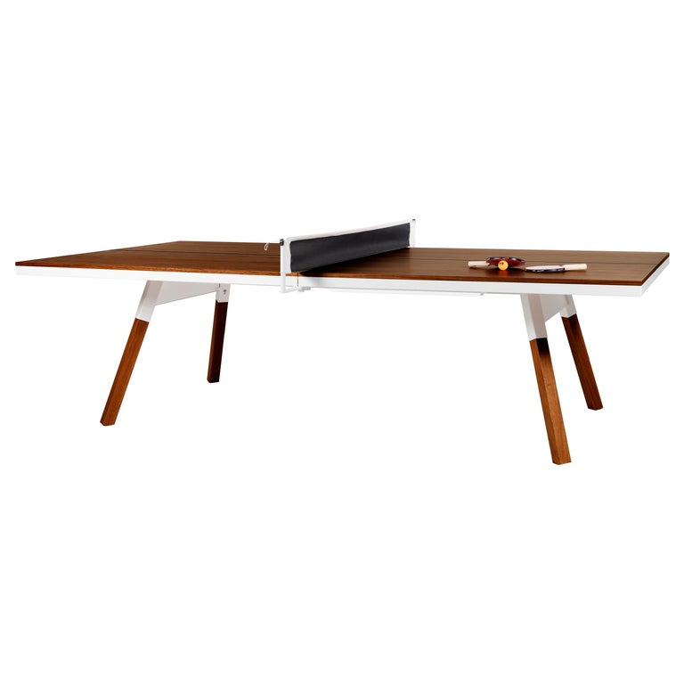 You & Me Wooden Top Standard Ping Pong Table in Walnut and White by RS Barcelona For Sale
