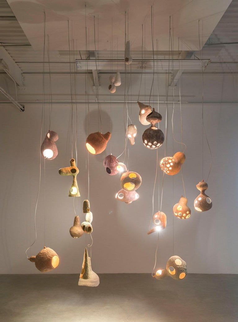 Modern You See a Sheep Contemporary Chandelier with Multiple Hand-Built Ceramic Shells For Sale