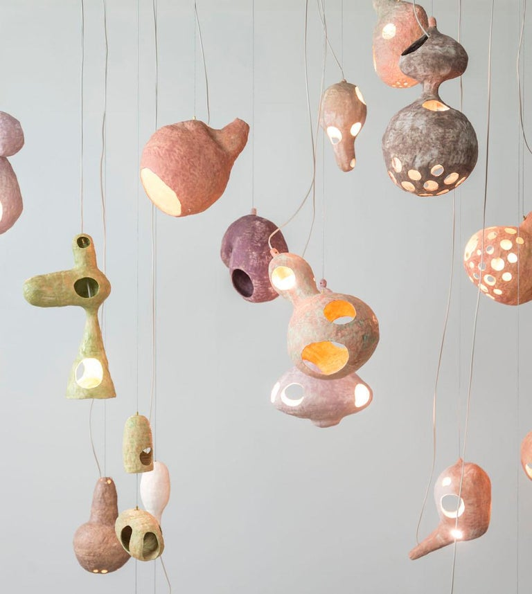 American You See a Sheep Contemporary Chandelier with Multiple Hand-Built Ceramic Shells For Sale