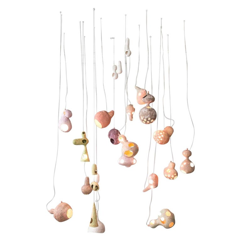 You See a Sheep Contemporary Chandelier with Multiple Hand-Built Ceramic Shells For Sale