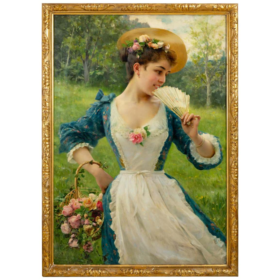 Young Beauty with a Basket of Roses, Signed F. Andreotti