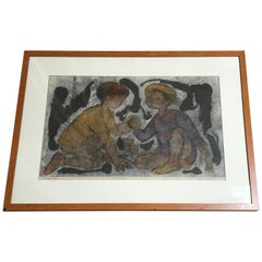 """""""Young Boys"""" Monotype by California listed Olga Higgins"""