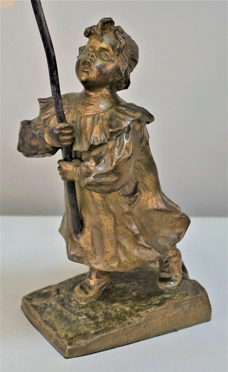 French Young Bronze Girl Art Glass Table Lamp For Sale