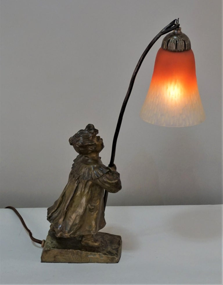 Early 20th Century Young Bronze Girl Art Glass Table Lamp For Sale