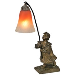 Young Bronze Girl Art Glass Table Lamp