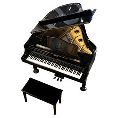 Young Chang Baby Grand Piano with Decorative Peacock Mother of Pearl Inlay