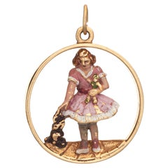 Young Child with Dog Vintage Charm 14k Gold Enamel Pendant Estate Fine Jewelry
