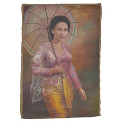 Young Elegant Asian Woman Oil on Canvas, circa 1940s