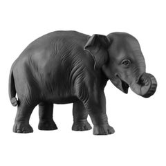 Young Elephant 1 Animal Figure in Black Biscuit Porcelain by Nymphenburg